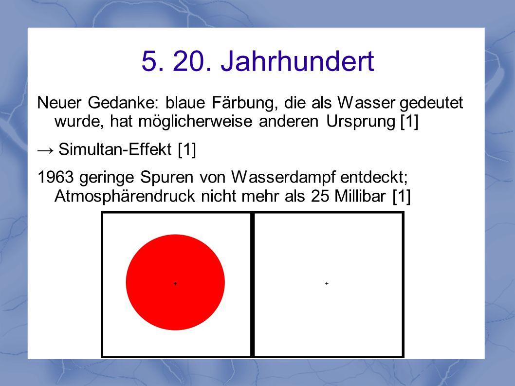 5. 20. Jahrhundert Neuer Gedanke: blaue Färbung, die als Wasser gedeutet wurde, hat möglicherweise anderen Ursprung [1]